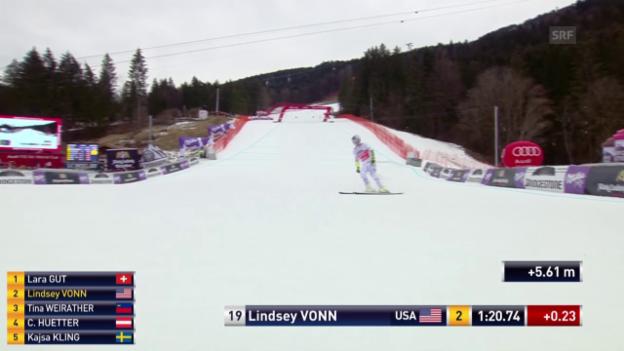 Video «Lindsey Vonn für einmal nicht siegreich im Super-G» abspielen