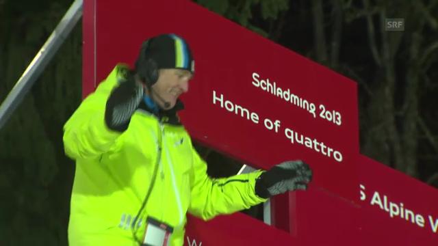 Ski-WM: Teamevent, Tanz von Renndirektor Günter Hujara