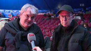 Video «Viktor Giacobbo und Mike Müller vor ihrer grossen Knie-Premiere» abspielen