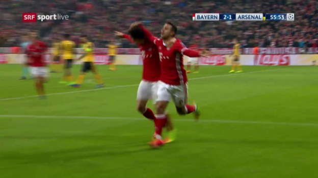 Video «Die Live-Highlights bei Bayern-Arsenal» abspielen