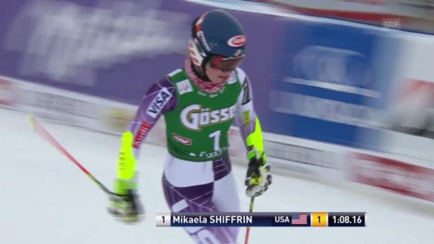 Video «Ski: Weltcup Frauen, Riesenslalom Kühtai, 1. Lauf Shiffrin» abspielen