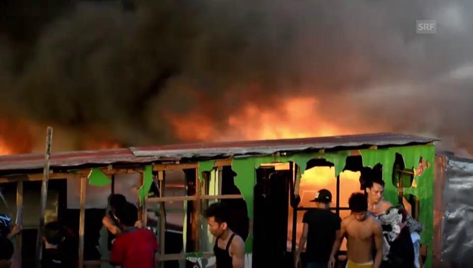 Grossbrand in einem Slum (unkommentiert)