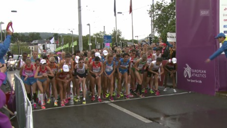 Video «Leichtathletik-EM: Startschuss zum Frauen-Marathon» abspielen