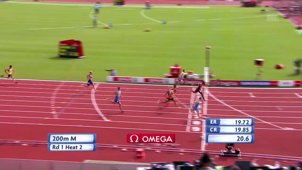 Wilson gewinnt seinen Vorlauf über 200 m