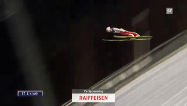 Video «Skispringen: Der 2. Sprung von Simon Ammann («sportlive»)» abspielen