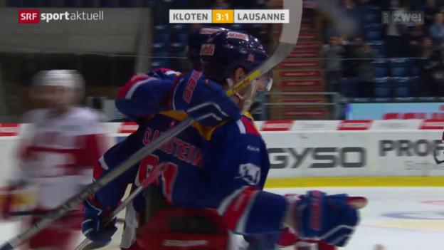 Video «Kloten mit wichtigem Erfolg gegen Lausanne» abspielen