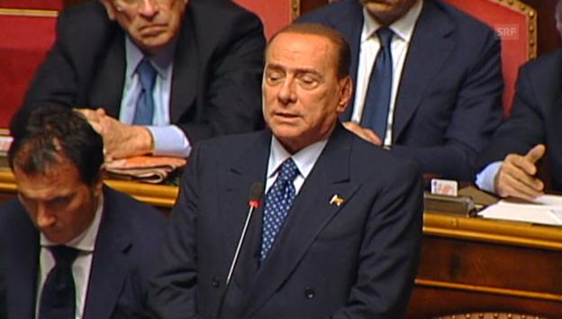 Video «Berlusconi kündigt Unterstützung Lettas an (Originalton)» abspielen