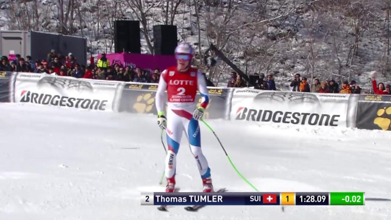 Thomas Tumler fährt in Jeongseong etwas schneller als Feuz