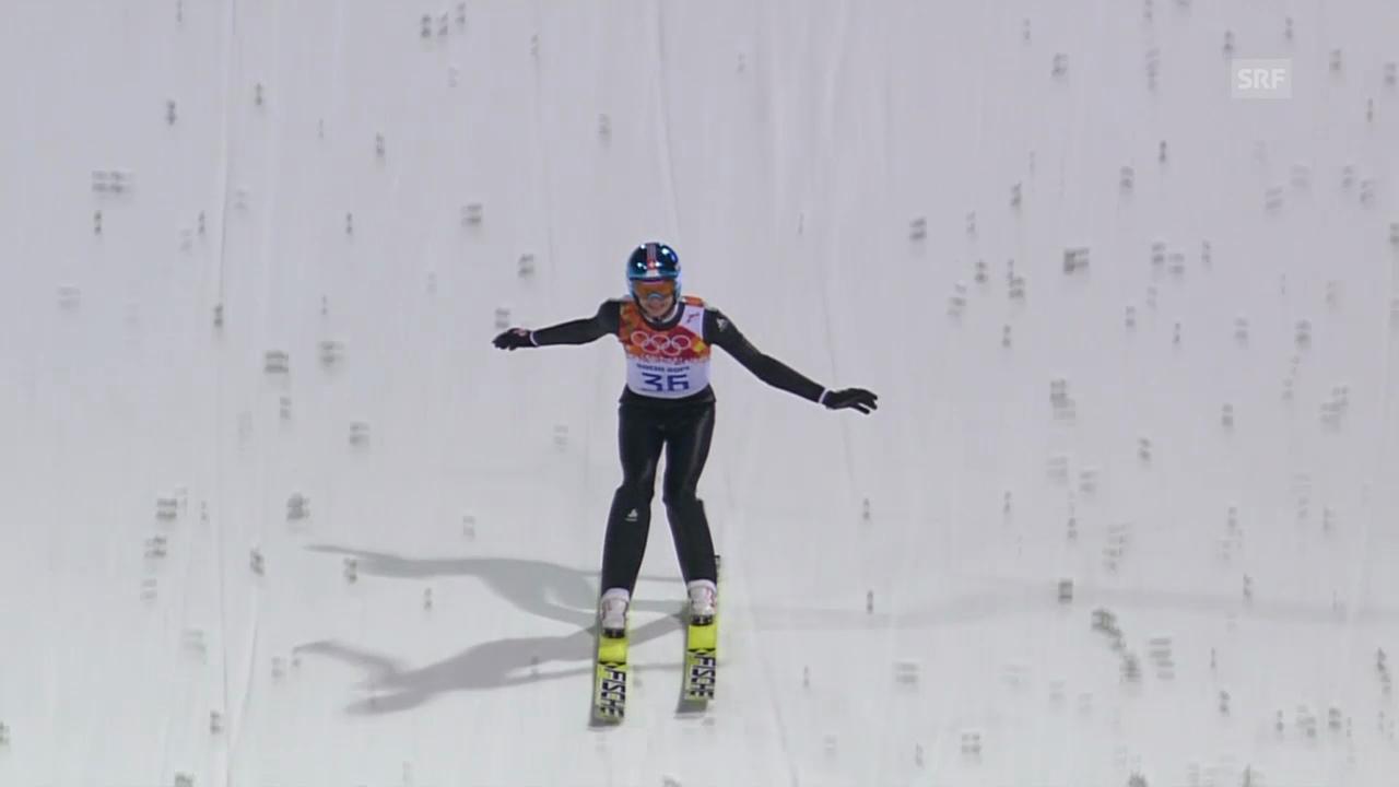 Sotschi: Skispringen Qualifikation Normalschanze, Sprung von Gregor Deschwanden