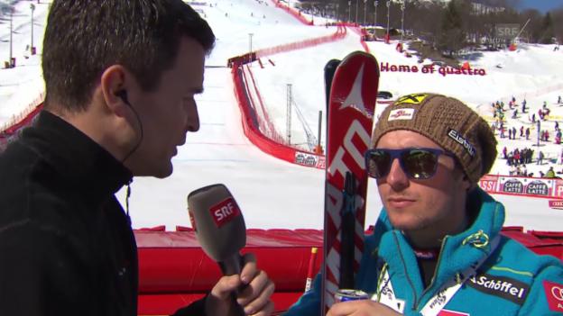 Video «Ski: Super-G Männer in Méribel, Interview mit Hirscher» abspielen