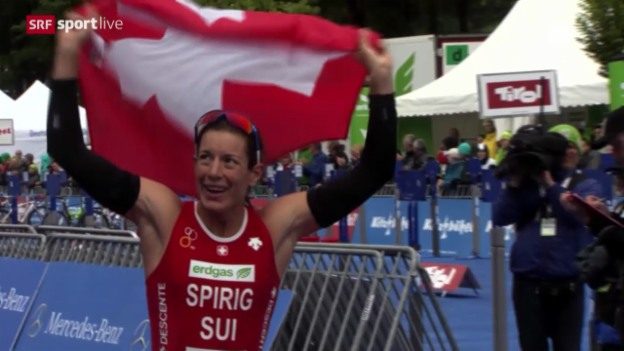 Video «Triathlon: Spirig holt den 4. EM-Titel im Triathlon» abspielen