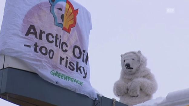 Video «Greenpeace protestiert gegen WEF (unkommentiert)» abspielen