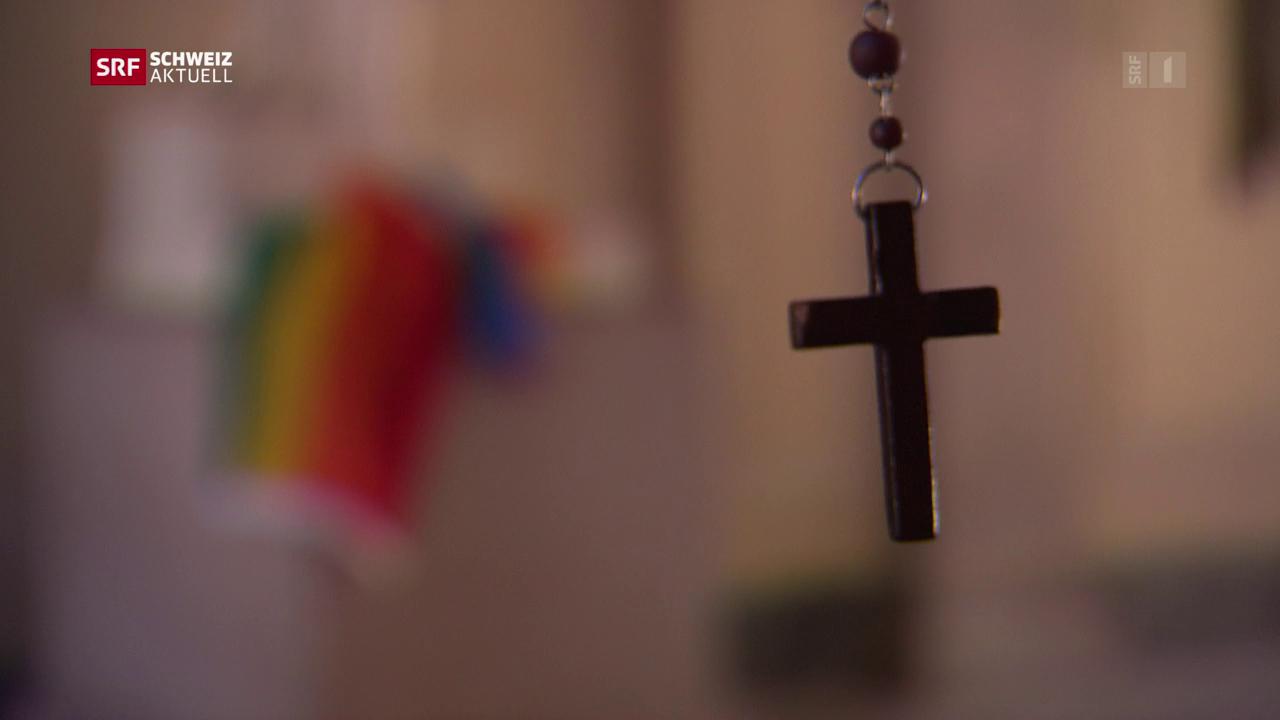 Betend an die Gay Pride