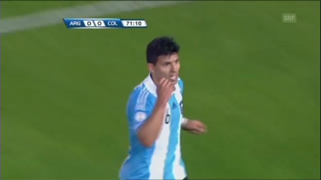 Video «Fussball: Aberkanntes Tor von Aguero (unkommentiert)» abspielen