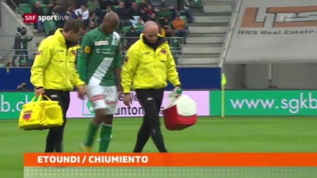 Video «Fussball: Etoundi und Chiumiento fallen aus» abspielen