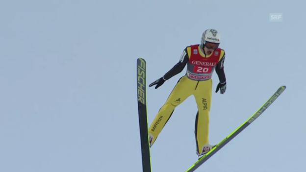 Video «Skispringen: Vierschanzentournee, Garmisch, 2. Sprung Deschwanden» abspielen