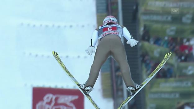 Video «Skispringen: Vierschanzentournee, Innsbruck, 2. Sprung Severin Freund» abspielen