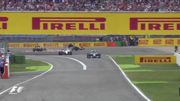 Video «Formel 1: Massa crasht nach dem Start in Hockenheim» abspielen