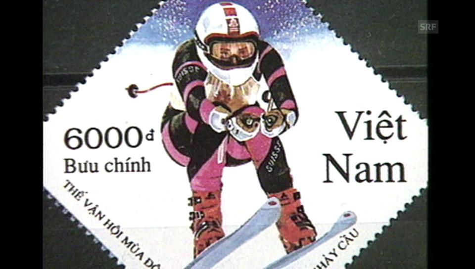 Vreni Schneider auf einer vietnamesischen Briefmarke «Time out» vom 9.01.1995