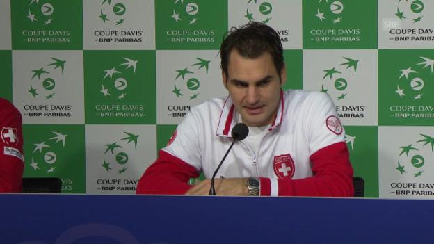 Video «Tennis: Davis Cup, Roger Federer Medienkonferenz» abspielen