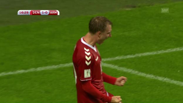 Video «Dänemarks Eriksen: Erst treffen, dann Penalty verschiessen» abspielen