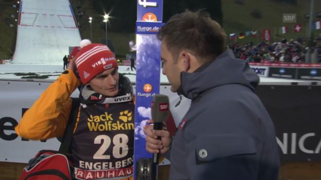 Video «Skispringen: Weltcup in Engelberg, Interview mit Richard Freitag» abspielen