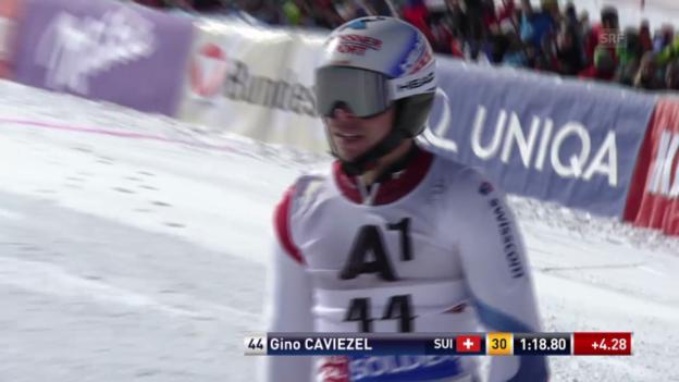 Video «Ski: Riesenslalom Sölden, 1. Lauf Gino Caviezel» abspielen