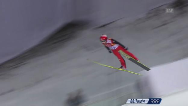 Video «Skispringen: Normalschanze, 1. Sprung Ammann (sotschi direkt, 9.2.2014)» abspielen