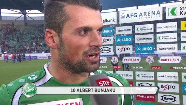 Video «Fussball: Super League, St. Gallen - Basel, Interview Bunjaku» abspielen