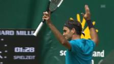 Link öffnet eine Lightbox. Video Federer ringt im Halle-Viertelfinal Ebden nieder abspielen