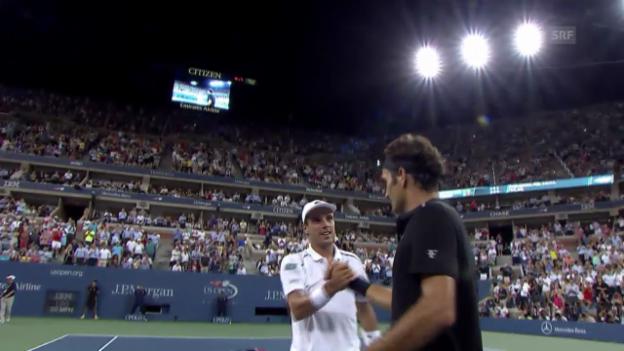 Video «Tennis: US Open, Federer - Bautista Agut beste Ballwechsel» abspielen