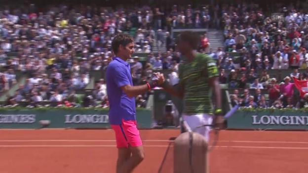 Video «Tennis: French Open 2015, Achtelfinal Federer-Monfils» abspielen