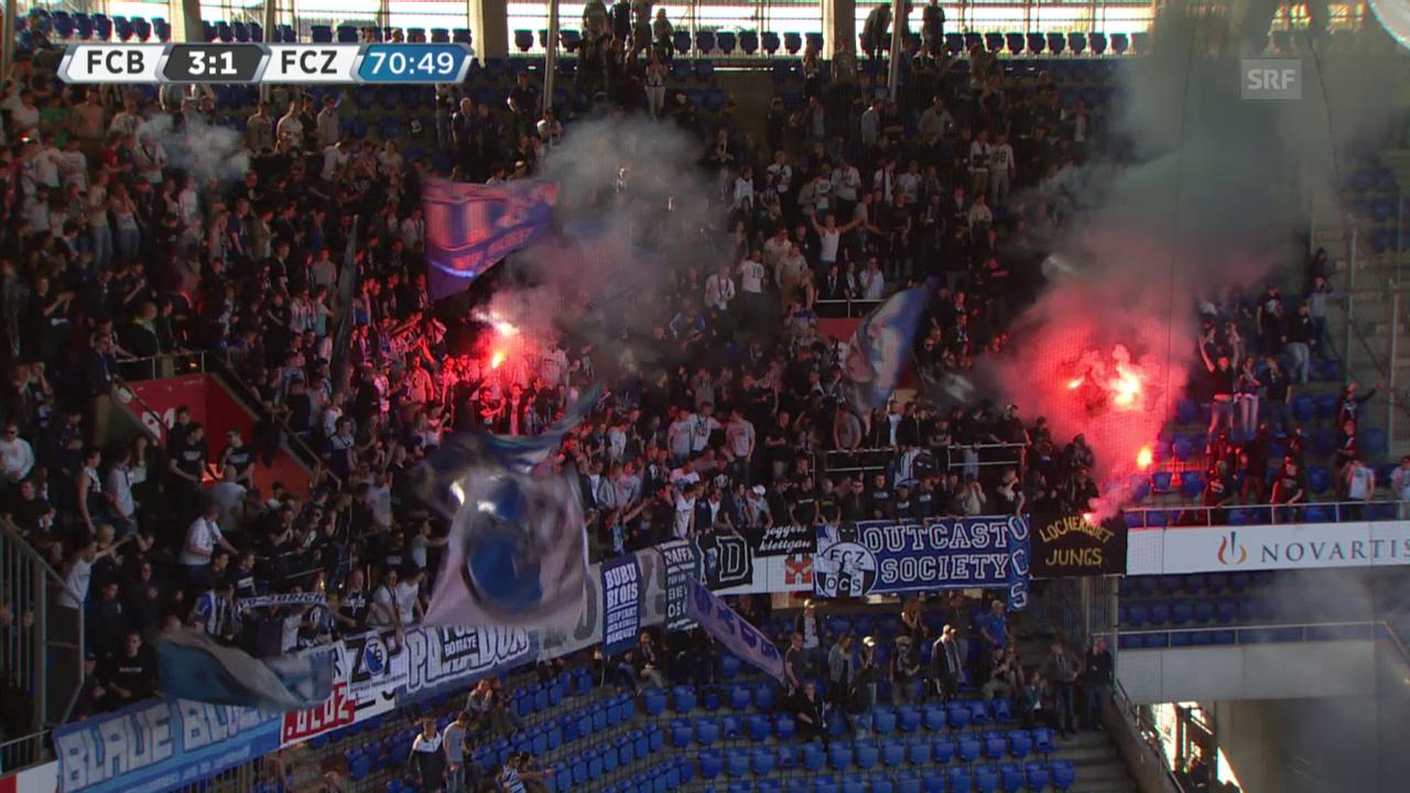 Fussball: Super League, Basel - Zürich, Chaoten provozieren Unterbruch