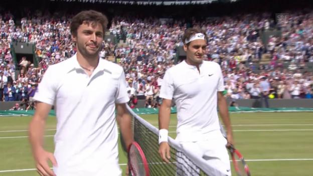 Video «Tennis: Wimbledon, Viertelfinal, Simon - Federer, Matchball Federer» abspielen