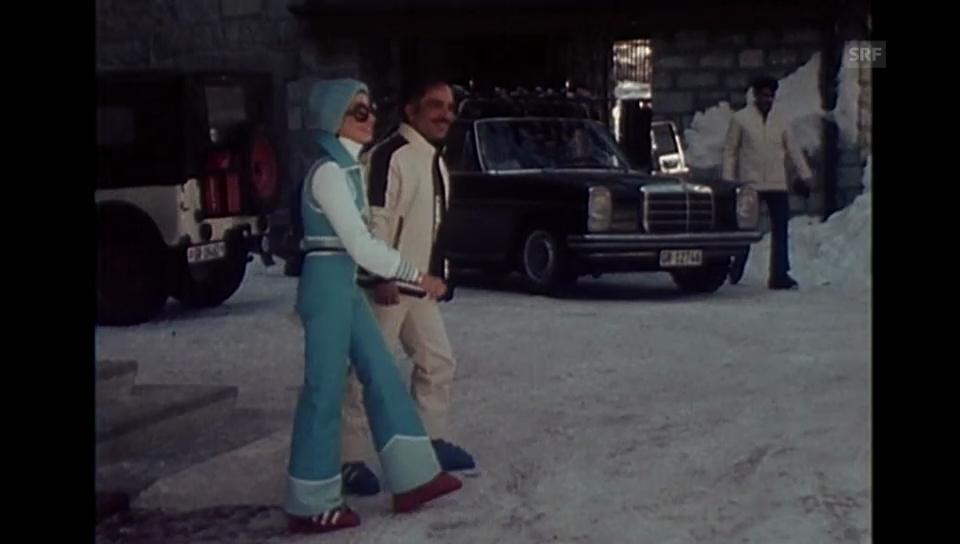 König Hussein mit seiner dritten Ehefrau in St. Moritz (1975)