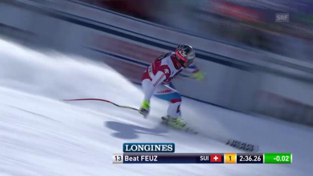 Video «Ski Alpin: Lauberhorn-Abfahrt Wengen, Fahrt Feuz» abspielen
