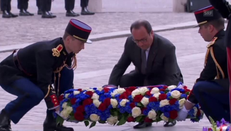 Hollande und Kerry an der Gedenkfeier in Paris