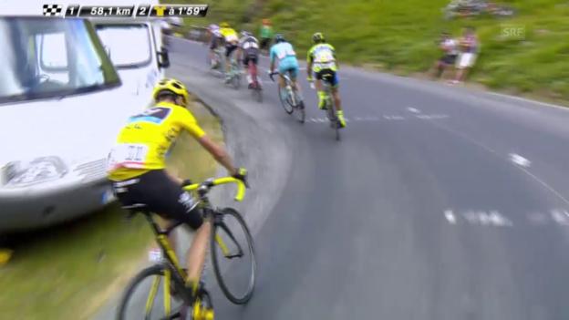 Video «Tour de France: 19. Etappe, Froome in Schwierigkeiten» abspielen