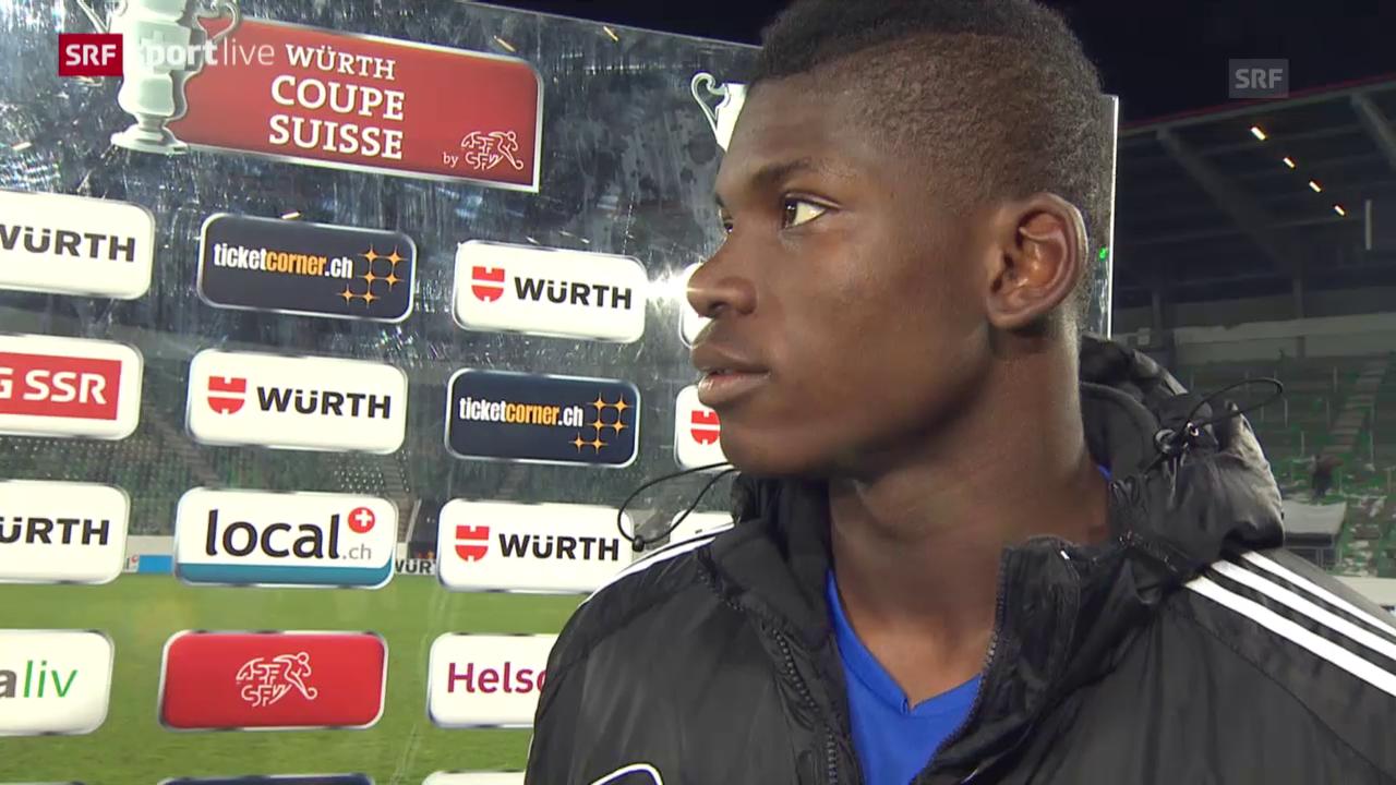 Fussball: Cup-Halbfinale, FC St. Gallen - FC Basel, Interview Embolo