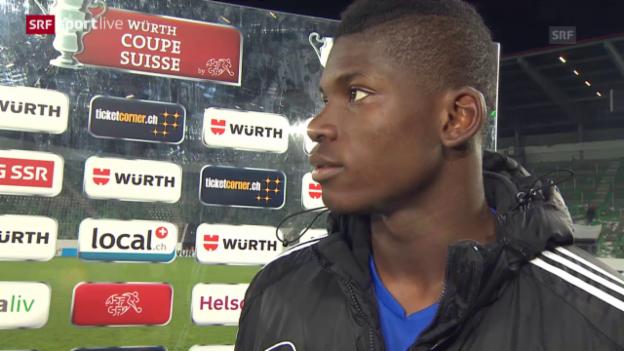 Video «Fussball: Cup-Halbfinale, FC St. Gallen - FC Basel, Interview Embolo» abspielen