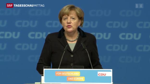 Video «Merkel tritt vor ihre Partei» abspielen