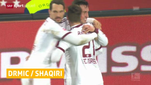 Video «Fussball: Die Tore von Drmic und Shaqiri» abspielen