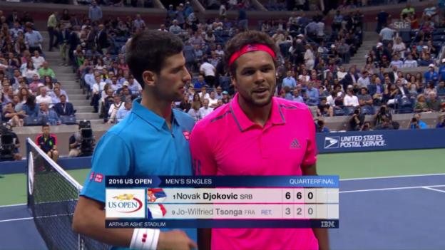 Video «Tsonga muss gegen Djokovic aufgeben» abspielen