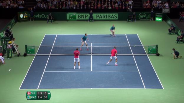 Video «Tennis: Davis-Cup-Viertelfinal Schweiz - Kasachstan, Schweiz - Kasachstan, Entscheidende Bälle Doppel» abspielen