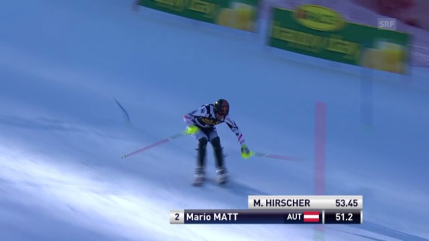 Video «Ski Alpin: Slalom Kranjska Gora, 1. Lauf Mario Matt («sportlive», 9.3.2014)» abspielen