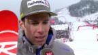 Video «Marc Gisin freut sich über seinen 5. Rang» abspielen