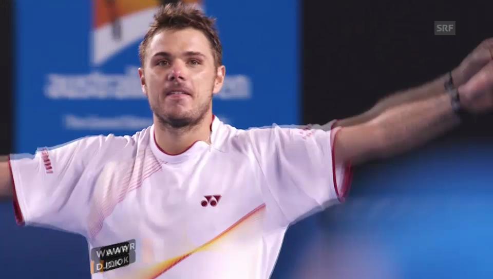 Entscheidende Bälle Wawrinka - Djokovic («sportlive», 21.01.2014)