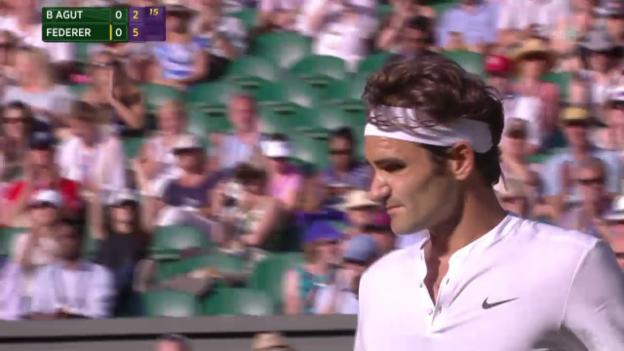 Video «Tennis: Wimbledon, Federer - Bautista Agut, Satzball 1:0» abspielen