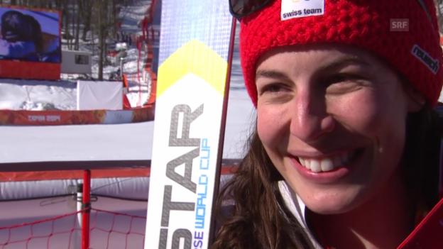 Video «Ski: Abfahrt der Frauen, Siegerinterview mit Dominique Gisin (sotschi direkt, 12.02.2014)» abspielen