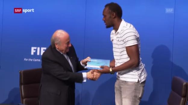Video «Usain Bolt zu Besuch bei Sepp Blatter («sportaktuell»)» abspielen